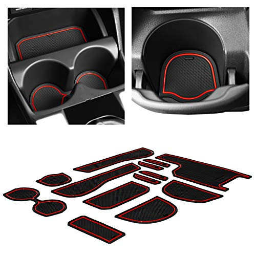 Center Console CupHolderHero for Honda Fit 2015-2020 Custom Liner Accessories and Door Pocket Inserts 13-pc Set Red Trim Premium Cup Holder