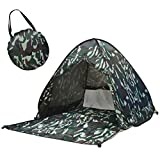 ポップアップテント フルクローズ ワンタッチテント 2-3人用 UVカット サンシェードテント 簡易テント 日焼け対策 紫外線カット 防水 軽量 簡単セット おしゃれ 防災グッズ コンパクト収納 キャリーバッグ付き(カモフラージュ,200×165×130CM)