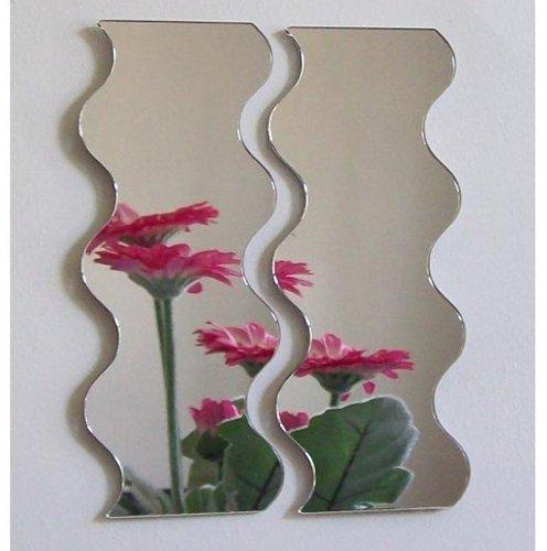 Super Cool Creations Par de Espejos ondulados – 35 cm x 14 cm (Juntos 35 cm x 28 cm)