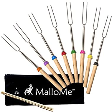 MalloMe Marshmallow Roasting Sticks Extending Roaster Set of 8 Telescoping Smores Skewers & Hot Dog Forks 32 Inch Fire Pit Camping Cookware Campfire Cooking Kids | FREE Bag, 10 Sticks & Ebook