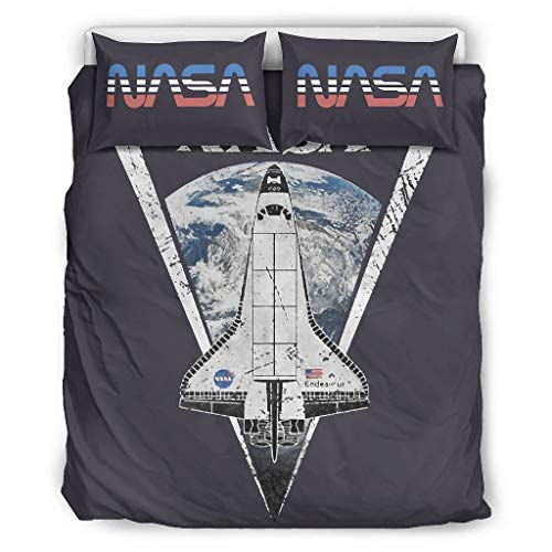Mentmate Store S-pace-Craft Microfibre All Year Round NASA 3-Piece Duvet Cover Set for Boys Bedroom White 264 x 229 cm