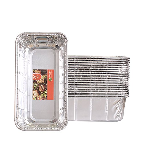 Party Bargains Loaf Pans | Heavy Duty Durable Quality Disposable Aluminum 2Lb Bread Tins | Perfect for Bakery, Homemade Cakes, Meatloaf & Food Serving - 8.5' X 4.5' X 2.5' | Pack of 20