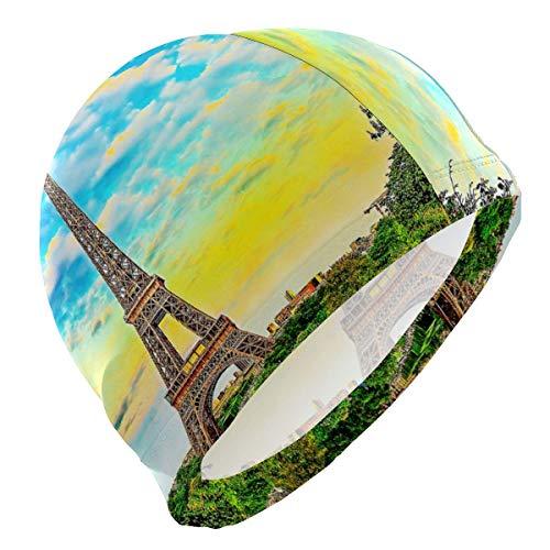 Gorro Natación Pintura al óleo París Torre Eiffel Gorro de Piscina para Hombre y Mujer Hecho de Silicona Ideal para Pelo Largo y Corto