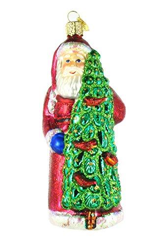 Old World Christmas Viejo Mundo Navidad Llamadas de Papá Noel con pájaros de Cristal soplado Adorno