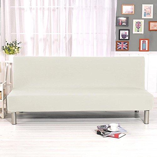Ardentity Weiß Stretch Sofabezüge Schutzhülle Ohne Armlehnen, Einfarbig 3-Sitzer Sofabezug Elastische voll zusammenklappbare Couch Sofa Schild passt zusammenklappbare Sofa-Bett