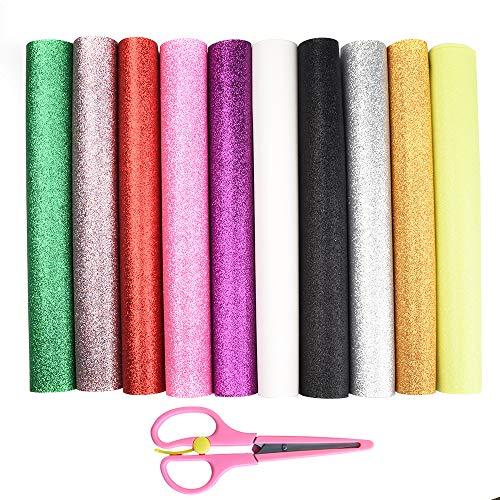 Onepine GlitzerStoff 10 Stück 10 Farben GlitzerKunstleder Stoff,22x32 cm Glitzer Bastelstoff für DIY Handwerk,Ohrringe,Haarspangen (10 Stück 10 Farben)