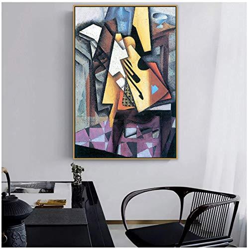 Tbdiberc Juan Gris Old Famous Master Artista Español Guitarra En Una Silla Lienzo Pintura Póster Impresión para La Decoración De La Pared De La Habitación Arte De La Pared-60X80Cmx1 Sin Ma