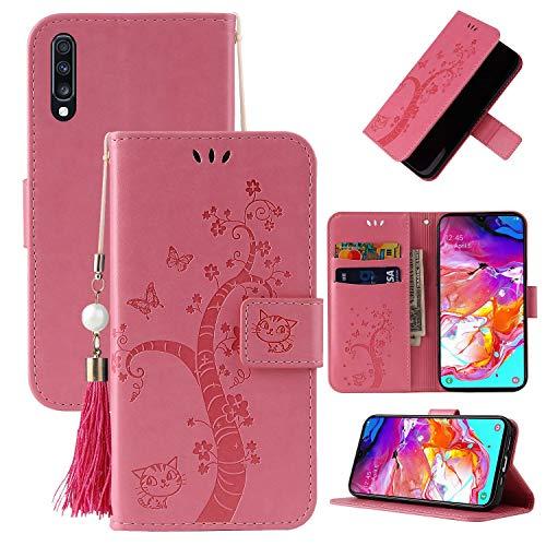 Miagon Brieftasche Flip Hülle für Samsung Galaxy A70,Schön Schmetterling Baum Katze Design PU Leder Buch Stil Stand Funktion Handyhülle Case Cover,Rosa