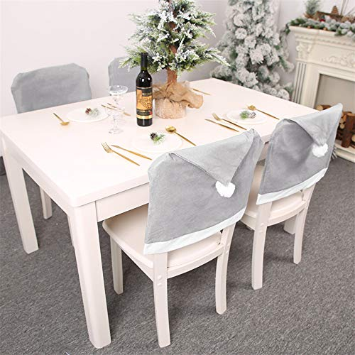 CVG 2Pc Christmas Chair Cover Cap Non Woven Big Dinner Table Red Hat Chair Back Cover Navidad Xmas Christmas Decoration for Home