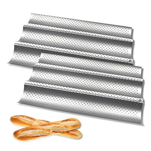 FireKylin Baguette Pans for Baking, 2 Pack French Bread Pan 15' x 9.7' Nonstick Perforated 3 Slots Loaf Bake Mold Toast for Oven (Silver)