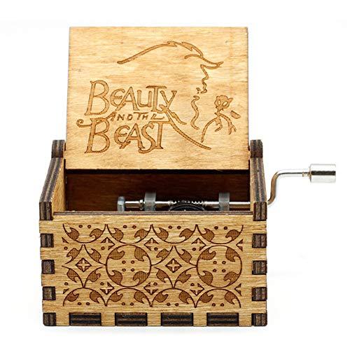 Goodangie00 Hölzerne Spieluhr Holz Handkurbel Graviert Musikbox Vintage Hochzeit Valentinstag Weihnachten Geburtstagsgeschenk - Beauty and The Beast