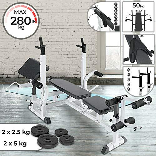 Nova Panca Multifunzione Fitness Palestra Regolabile Allenamento 5 in 1 + Pesi 15 kg