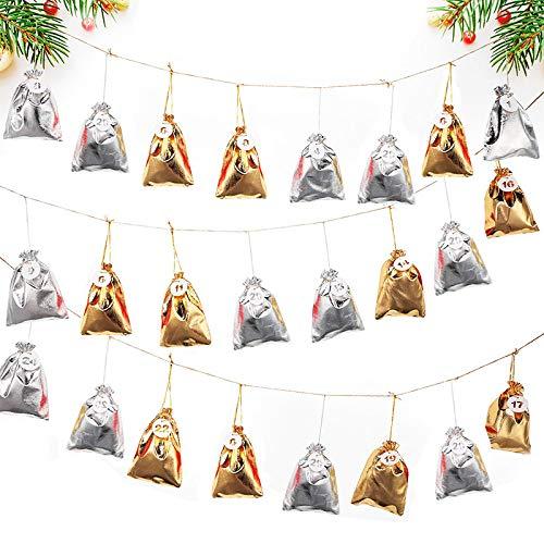 Kerstgeschenk tas goud en zilver stoffen tas 24 digitale dag adventskalender countdown snoep opbergtas set 13 * 18cm A1.