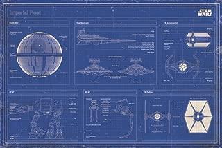 Star Wars - Movie Poster (Imperial Fleet Blueprint/Schematics) (Death Star, Star Destroyer, at-at.) (Size: 36 inches x 24 inches)