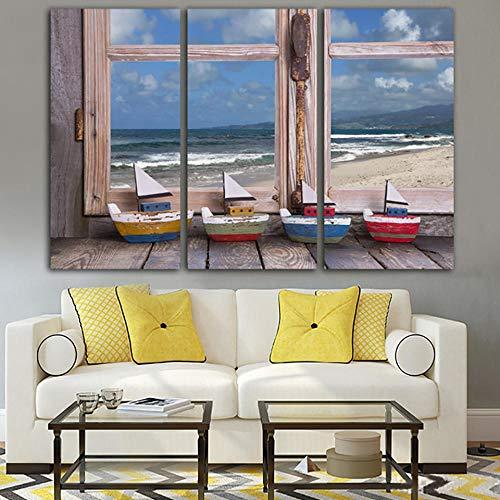 WENJING Kleur op canvas Wohnkultur Poster 3-panel landschap buiten voor het raam Moderne woonkamer wandkunst foto's Hd Print40X80Cmx3 stuks geen lijst