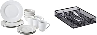 Amazon Basics Service de table 16pièces pour 4personnes & Relaxdays Range-couverts mailles acier métal boîte à couverts ...