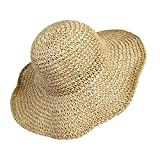 Sombrero de Paja de las Mujeres, Playa de Verano Sombrero de Sol Plegable Gorra de sol de...