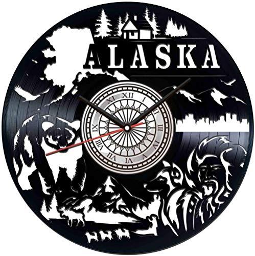 TJIAXU Reloj de Pared con Disco de Vinilo de Alaska,decoración única para...
