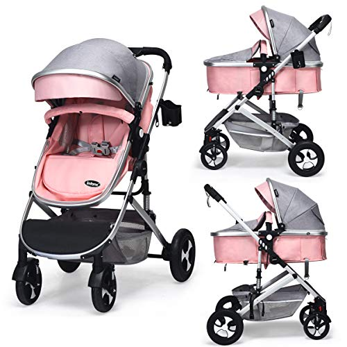 INFANS Baby Pram for Newborn, 2 in 1 High Landscape Convertible Reversible Bassinet Stroller for Infant & Toddler, Foldable Aluminum Alloy Pushchair with Adjustable Backrest, 3D Suspension (Pink)