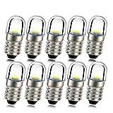 Ruiandsion 10pcs E10 LED Bulb 12V E10 Base Socket 1W White Replace Torch Headlight Headlamp Mini Head Lamp Flashlight Bulbs,Non-Polarity