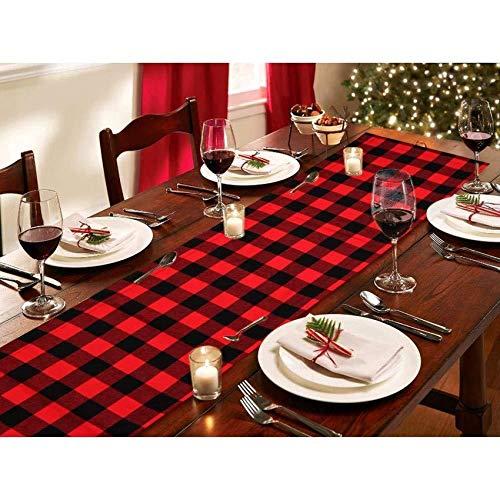 Camino de mesa de Navidad a cuadros Buffalo, 82 pulgadas, tocador de mesa de Navidad, color rojo, negro, yute reversible corredor de doble cara para