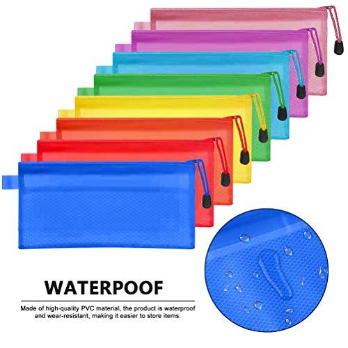 FOCCTS 16 Stücke A6 23,5×11,5 cm Bleistiftbeutel Reißverschluss Datei Taschen wasserdichte Kunststoff...