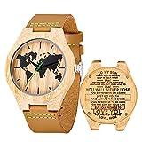 Reloj de Madera de Cuero, Relojes de brújula de bambú Hechos a Mano MUJUZE, Relojes de Pulsera para Hombre con Correa de Vaca marrón (For Son from Mo)