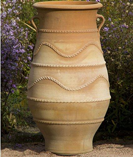 Kreta-Keramik | große XXL Terracotta Pflanzamphore mit Henkel | 100 cm | handgefertigt Amphore, frostfest | mediterrane Deko im Garten Außenbereich Innen, Cistus