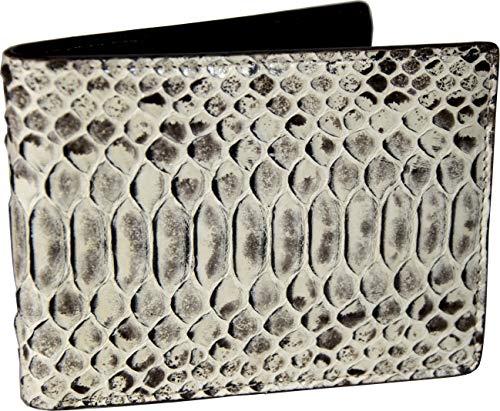 Etabeta Artigiano Toscano - Cartera de hombre de auténtica piel de pitón con certificado CITES - Pitón Curtus - Fabricado en Italia, Var 1 (Gris) - C_001_sp