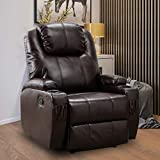 Bonzy Home Oversized Recliner, Leather Recliner Chair with 2 Cup Holders, Brown