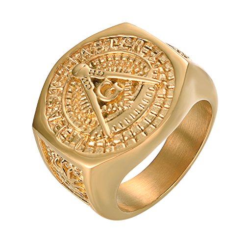 Yoursfs Anillo masónico con sello masónico, anillo de sello masónico, anillo de color oro, anillo único de sello masónico, anillo de hombre, regalo masónico