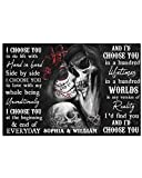 Homelight Personalized I Choose You Sugar Skull Poster, Funny Skeleton Skull for Couple Lover Husband Wife Horizontal Poster No Frame Full Size 18x12 24x16 36x24 for Birthday, Christmas