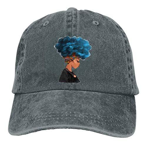 Blaue Haarfarbe Afrikanische Frau Retro Verstellbarer Cowboy-Denim-Hut Unisex Hip Hop Schwarze Baseballmützen Netzrot 17384