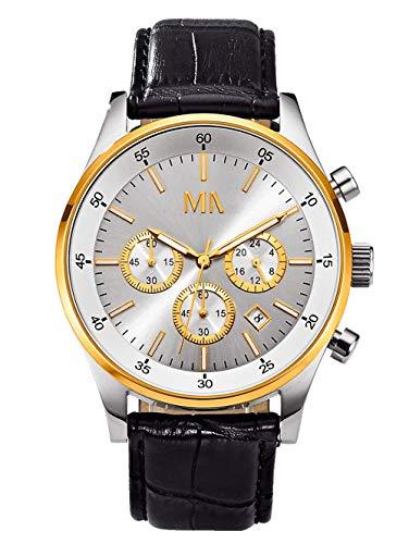 Meister Anker Herren Analog Uhr in Multicolor mit Armband in Schwarz aus Leder