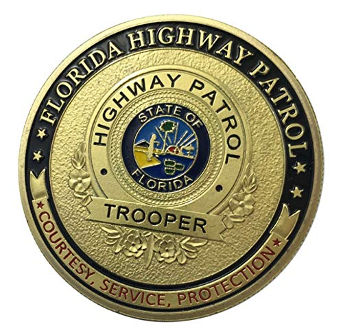 U.S. United States | Florida Highway Patrol FHP | State of Florida Highway Patrol Trooper | Courtesy Service Protection | Gold Plated Police Challenge Coin