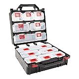 STIER Werkzeugbox mit 12 ausziehbaren Behältern, für eine Vielzahl von Kleinteilen, Werkzeugkoffer, Sortierkasten