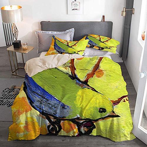 812 Housse de Couette avec taie,Oiseau Nature Vert Citron série Moineau Faune,140x200cm+2 taies d'oreillers 50x75cm