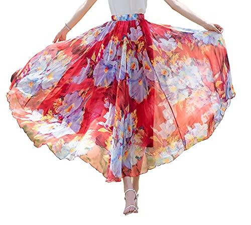 ASVR Falda larga de gasa para mujer, cintura alta, elástica, para cóctel, verano, falda plisada, vestido de playa rojo L