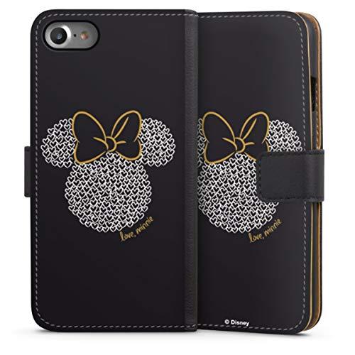Klapphülle kompatibel mit Apple iPhone SE (2020) Handyhülle aus Leder schwarz Flip Hülle Minnie Mouse Disney Muster