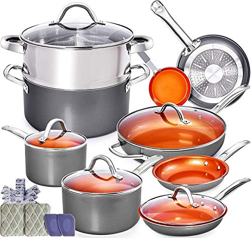 Copper Pots and Pans Set - 13pc Copper Cookware Set Copper Pan...