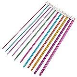 Vektenxi Häkeln Sie Kits Multicolor Aluminium tunesischen afghanischen Häkelnadel Stricknadeln Set Häkeln Werkzeuge Zubehör 11pcs / Set
