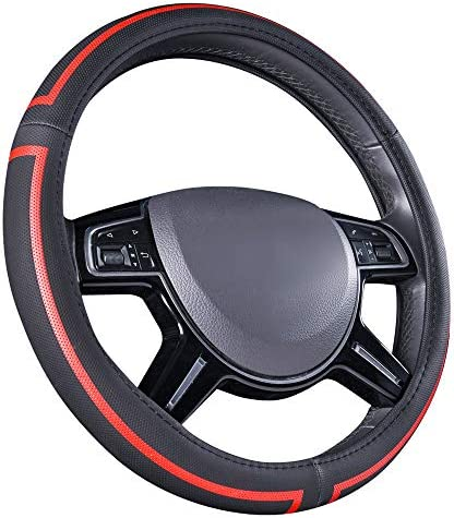 Amazon Basics Leatherette Steering Wheel Cover, 15″, Black and Red