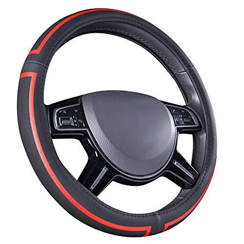 Amazon Basics - Cubierta para volante de cuero sintético, 38 cm (38,1 cm), negro y rojo