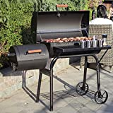WEIFLY Charcoal Grill with Offset Smoker,with Side Fire Box, Outdoor for Camping,Dual Zone Premium Charcoal Grill and Premium Charcoal Grill Cover, Large Black