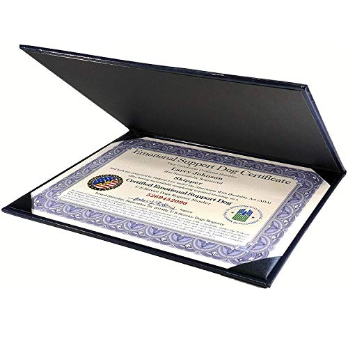 Official Certified Emotional Support Dog Customized Certificate with Leather Presentation Folder   Includes Handler/Dog Information Card & Free Registration at U S Service Dogs Registry