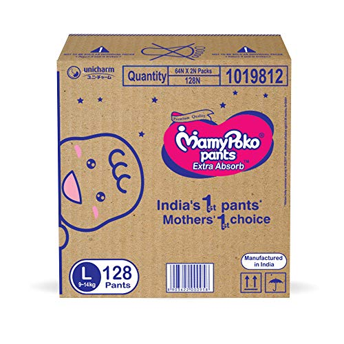 MamyPoko Pants Extra Absorb Diaper Box, Large (128 Count)