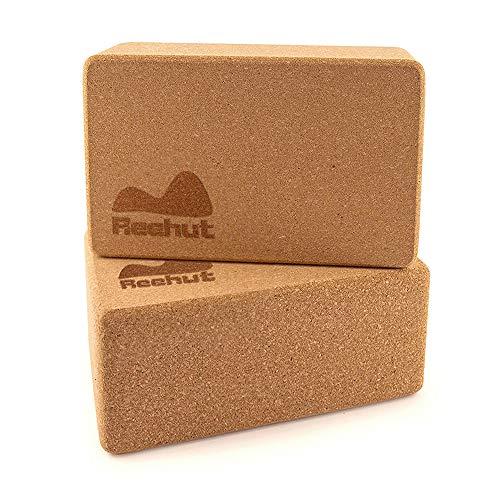 REEHUT Bloque Yoga Corcho Natural Yoga Block Cork para Yoga Pilates Equilibrio y Flexibilidad (2 Piezas)