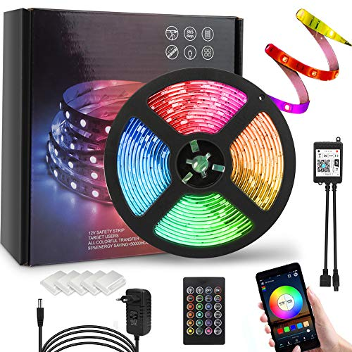 FEALING Alexa LED Strip Lichtband, 5M RGB Smart WiFi LED Streifen,APP Steuerbar Musik 5050 LED Band Lichterkette für Haus, Küche, TV, Party,kompatibel mit Alexa, Google Assistant