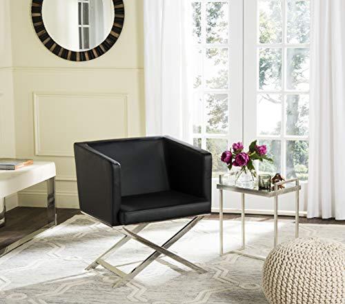 Safavieh Home Collection Celine Black and Chrome Modern Glam Bonded Leather Cross Leg Chair