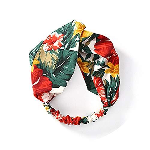 Kleurrijke Turban Hoofdbanden voor Vrouwen Meisje Bloemenblad Chiffon Hoofdband Bali Garen Breed Knoop Haarbanden Accessoires,4629 D B Bloemen size 4627GRFloral
